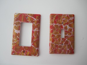 Switch plates in Red and Gold
